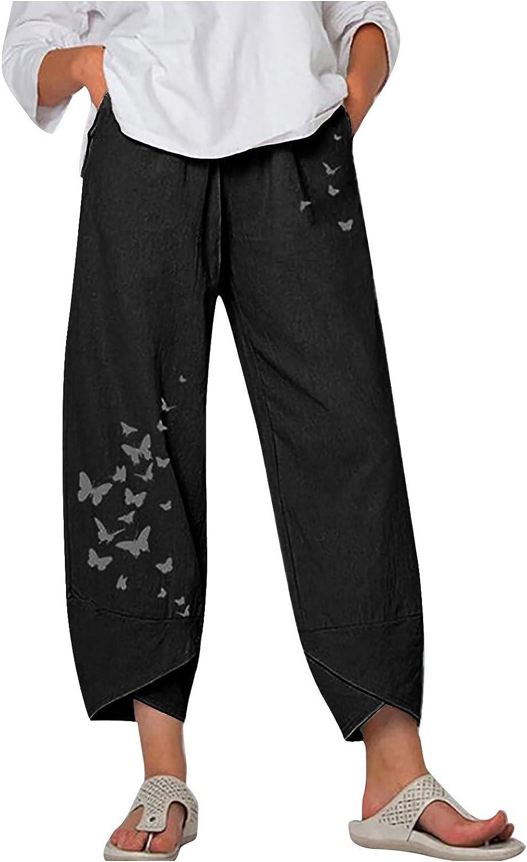 Johtae Max 72% OFF Linen Pants for Women Wide Elastic Harem Max 68% OFF Leg Waist