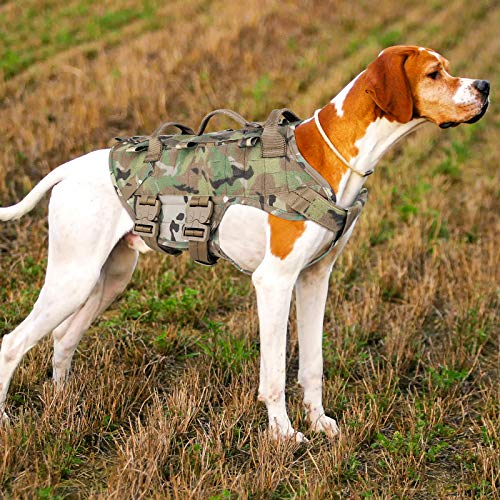 PETAC GEAR Tactical Dog Harness K9 Military Dog Training Harness Adjustable Police Service Dog Working MOLLE Vest for Large Medium Dogs Mals GSD Lab…