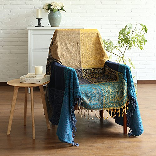 ele ELEOPTION Chenille Überwurf Decke, Jacquard Quasten Überwurf Decke Sofa Stuhl Bezug Dekorative für Bett Couch, Sessel, Folk Tribal Muster (Blau, 150 x 190 cm)