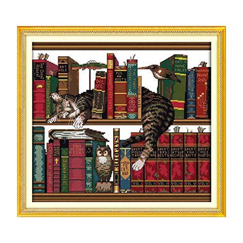 Ajcoflt Kit de bordado de ponto cruzado contado com bordado feito à mão DIY 14CT Cat on Bookshelf Pattern Cross-Stitching 41 * 38cm Decoração para casa