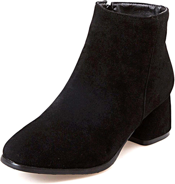 DoraTasia Nubuck Zipper Mid Heek Women's Boots Size 3-14 US