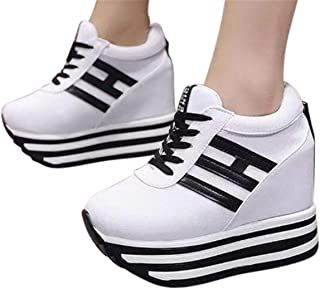Thick Bottom Sports Shoes Women Wedge Platform Sneakers Shoes Soft Rocking Shoes Sneakers by Gyouanime