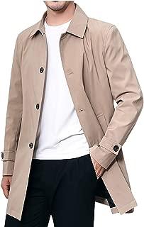 Men's Outwear Classic Notch Lapel Single Breasted Mid Long Trench Coat Jacket