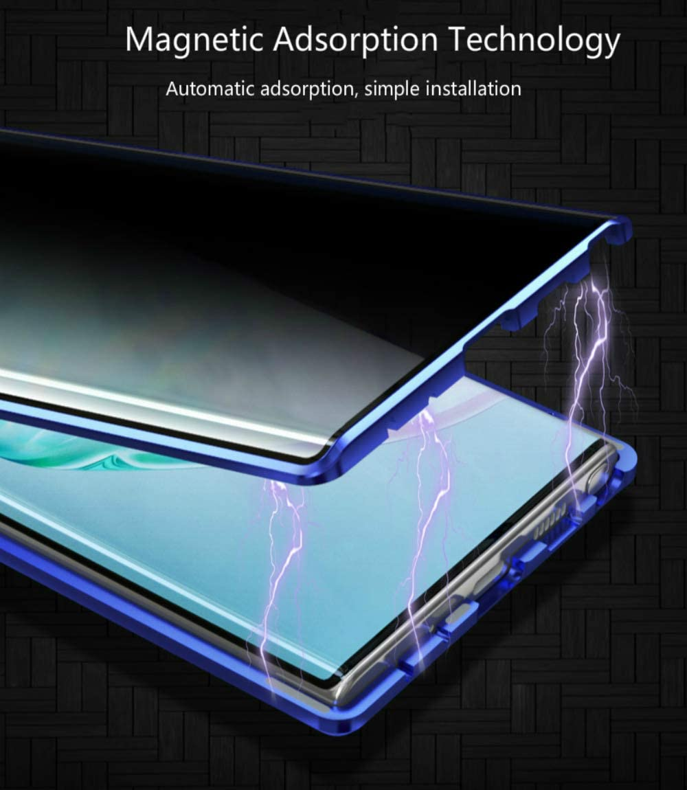 Anti-Peep Case for Xiaomi Redmi Note 9S//9 Pro Magnetic Cover,Privacy Screen Protector Anti-Spy Case,Magnetic Adsorption Metal Frame Anti-Peeping Tempered Glass Cover,360/° Full Protection Case-Blue