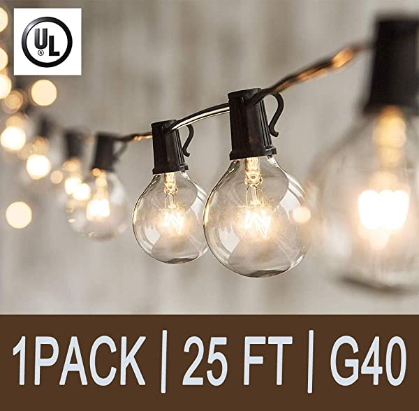 Afirst 25Ft Outdoor String Lights G40 Patio String Lights With Clear Edison Bulbs UL Listed Set Of 25 Glass Edison String Lights Garden Backyard Party Wedding Indoor String Lights Black Wire