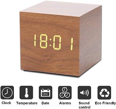 CHESUN Reloj Despertador Digital con Puerto USB pequeña luz LED Recargable Cubo Reloj Despertador Hora Temperatura