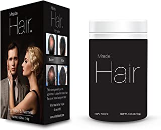 Miracle Hair PREMIUM All Natural Hair Building Fibers for Instantly Thicker Looking Hair! (25g) 75-Day Supply: DARK BROWN