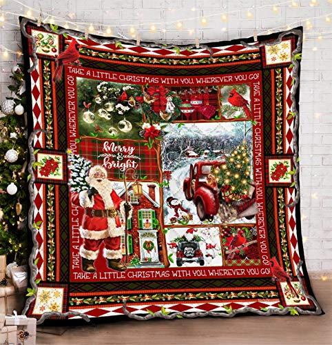 Janly Clearance Sale Cardinals Red Truck I Am Always With You Quilt Blanket, Home Textiles for Xmas 2020 Decoration (F)
