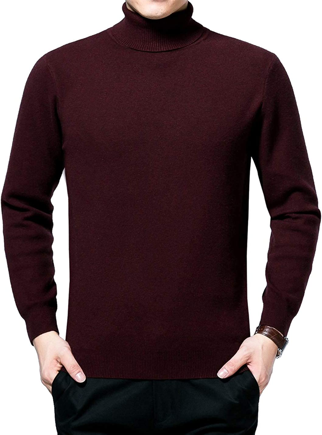 Gihuo Men's Fitted Solid Color Turtleneck Knit Pullover Sweater