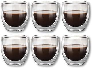 Lot de 6 tasses à café expresso moka - Verre thermique à double paroi - 80 ml