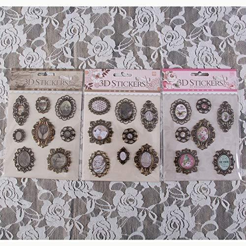 WOCAO Vintage Deocrativo 3D Adesivi Metallo Adesivi per DIY Regalo/Album Foto/Scrapbooking Carta Craft Supplies Wedding Deco 3sets/lot