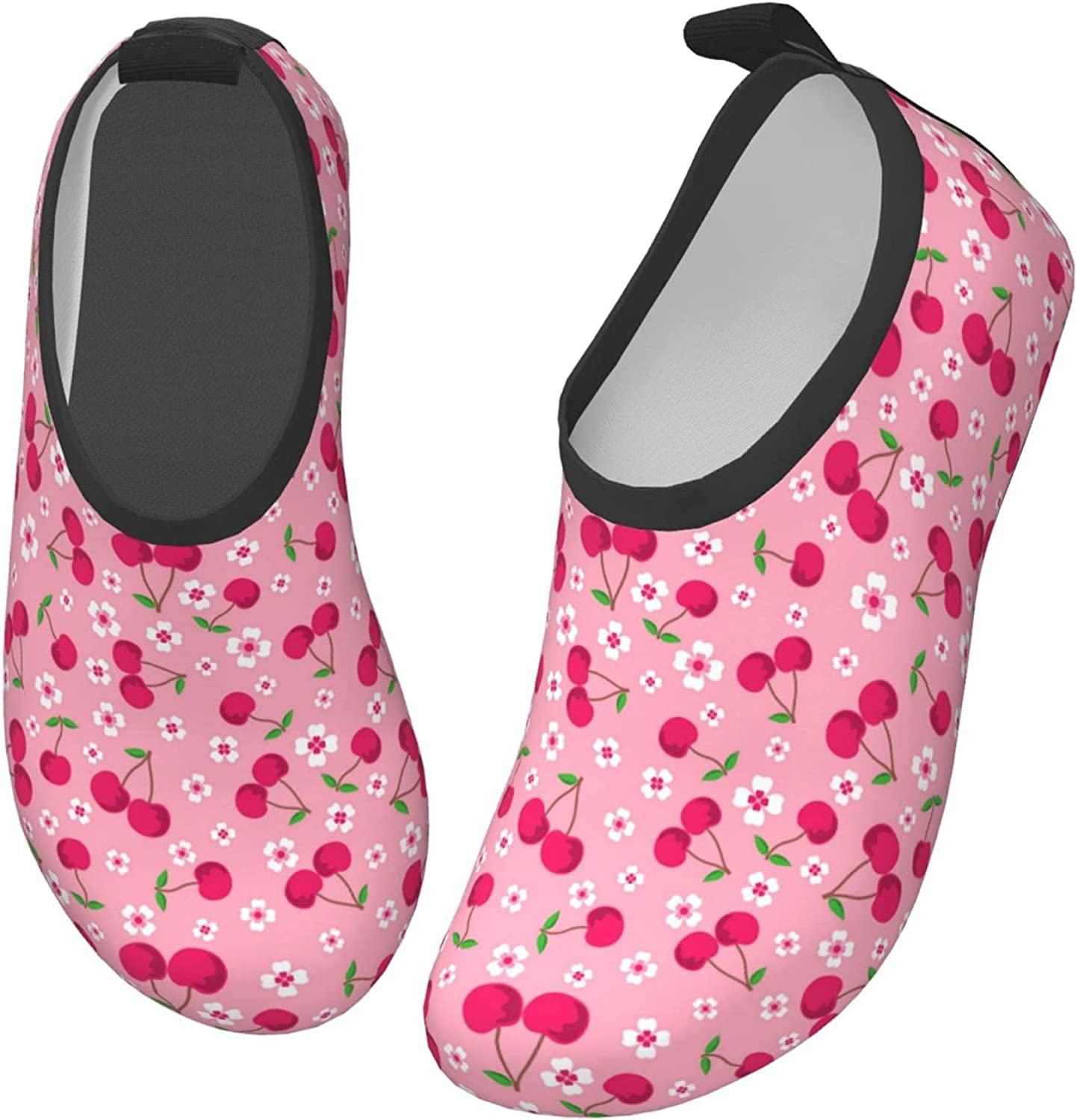 Jedenkuku Cherry Cute Fruit Pink Flowers Children's Water Shoes Feel Barefoot for Swimming Beach Boating Surfing Yoga