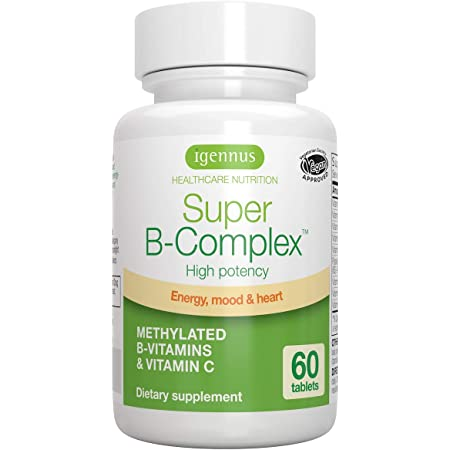 Super B-Complex – Methylated Sustained Release B Complex & Vitamin C, Folate & Methylcobalamin, Vegan, 60 Small Tablets