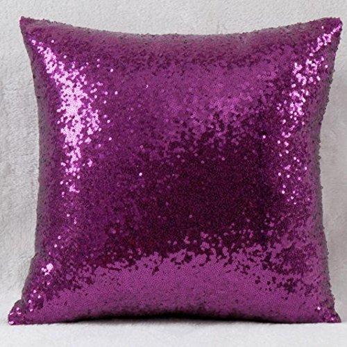 VJGOAL Glitter pailletten eenkleurig sierkussen Fall Café Home Decor kussen 40cm * 40cm lila