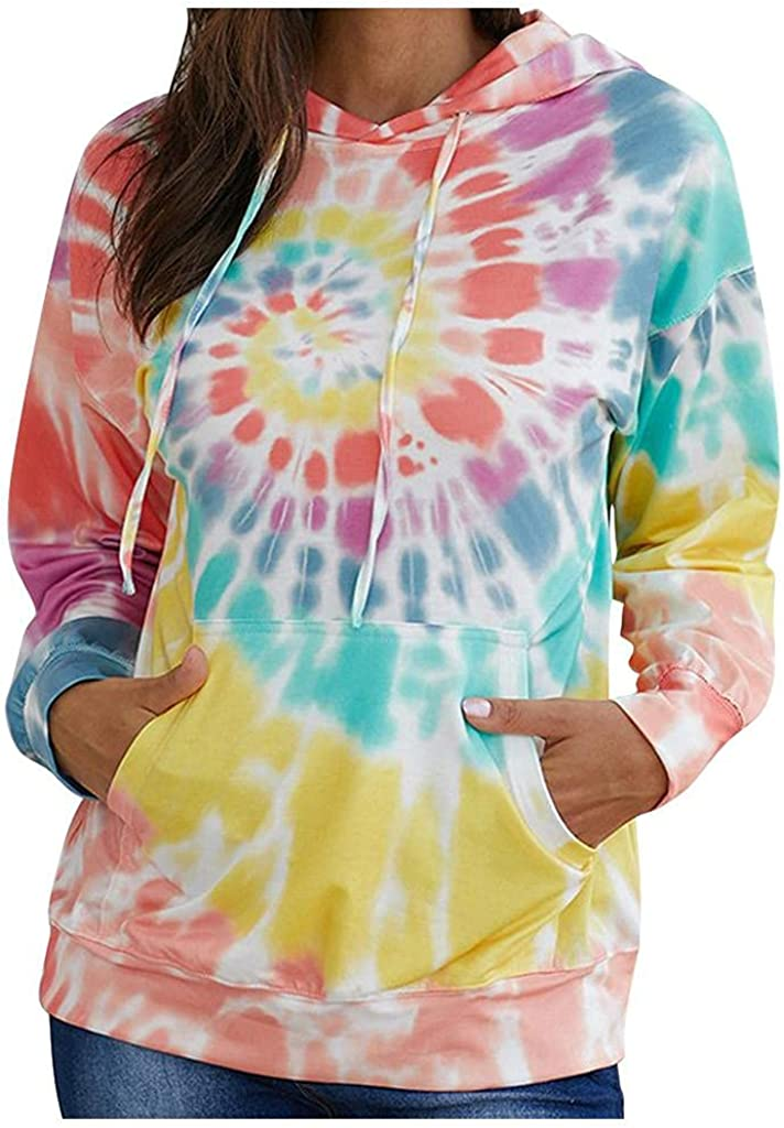 lucyouth Tie Dye Sweatshirts for Women Casual Long Sleeve Pullover Drawstring Tops Loose Hooded Sweatshirt with Pocket