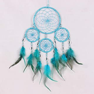 Mikey Store Dream Catcher Handmade Wall Hanging Home Decor, with Feathers Dia 4.3 inch, Girl Room Bell Bedroom Romantic Decoration (Blue)