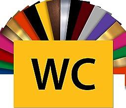 WC deurbordje | Naamplaatje PVC gravure zelfklevend 15 x 10 cm | 17 kleuren (geel)