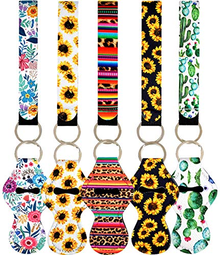 10pcs Neoprene Chapstick Holder Keychains, Vibrant Chapstick Sleeve Pouch Wristlet Lanyards Lip Balm Holders Lipstick Holder with Metal Ring (2)
