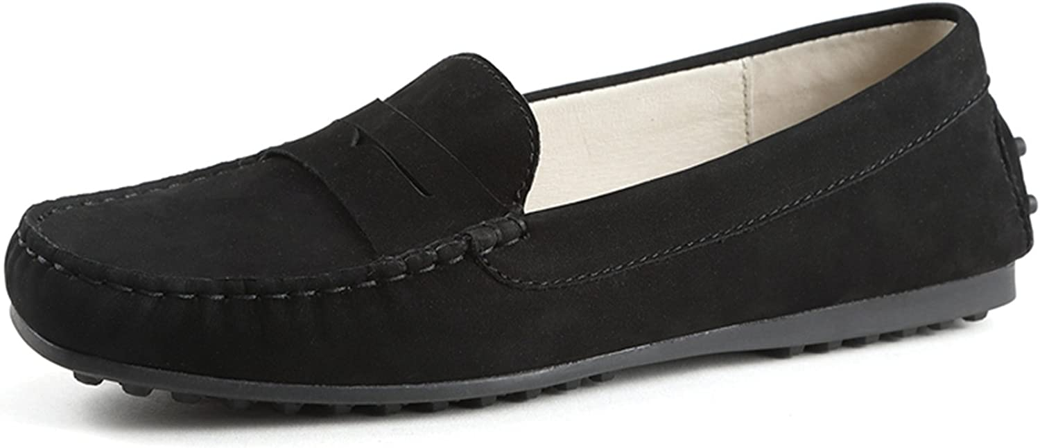 Miyoopark Women's Stripe Slip-on Suede Rubber Sole Spring Casual Loafers Flats