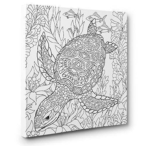 - Amazon.com: Swimming Turtle Art Therapy Coloring Canvas Home Decor: Handmade