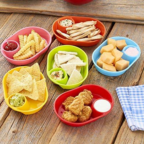 Set of 6 Snack Trays for Party Appetizers Chips and Dip - Plastic