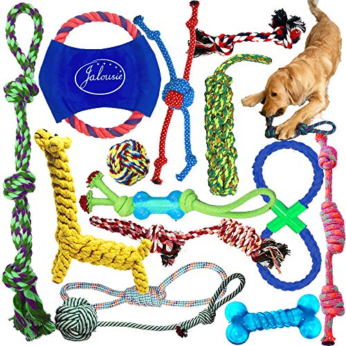 Jalousie Dog Rope Toys Dog Toy Assortment Puppy Chew Dog Rope Toy Nearly Indestructible Rope Toy Assortment for Small Medium Breeds