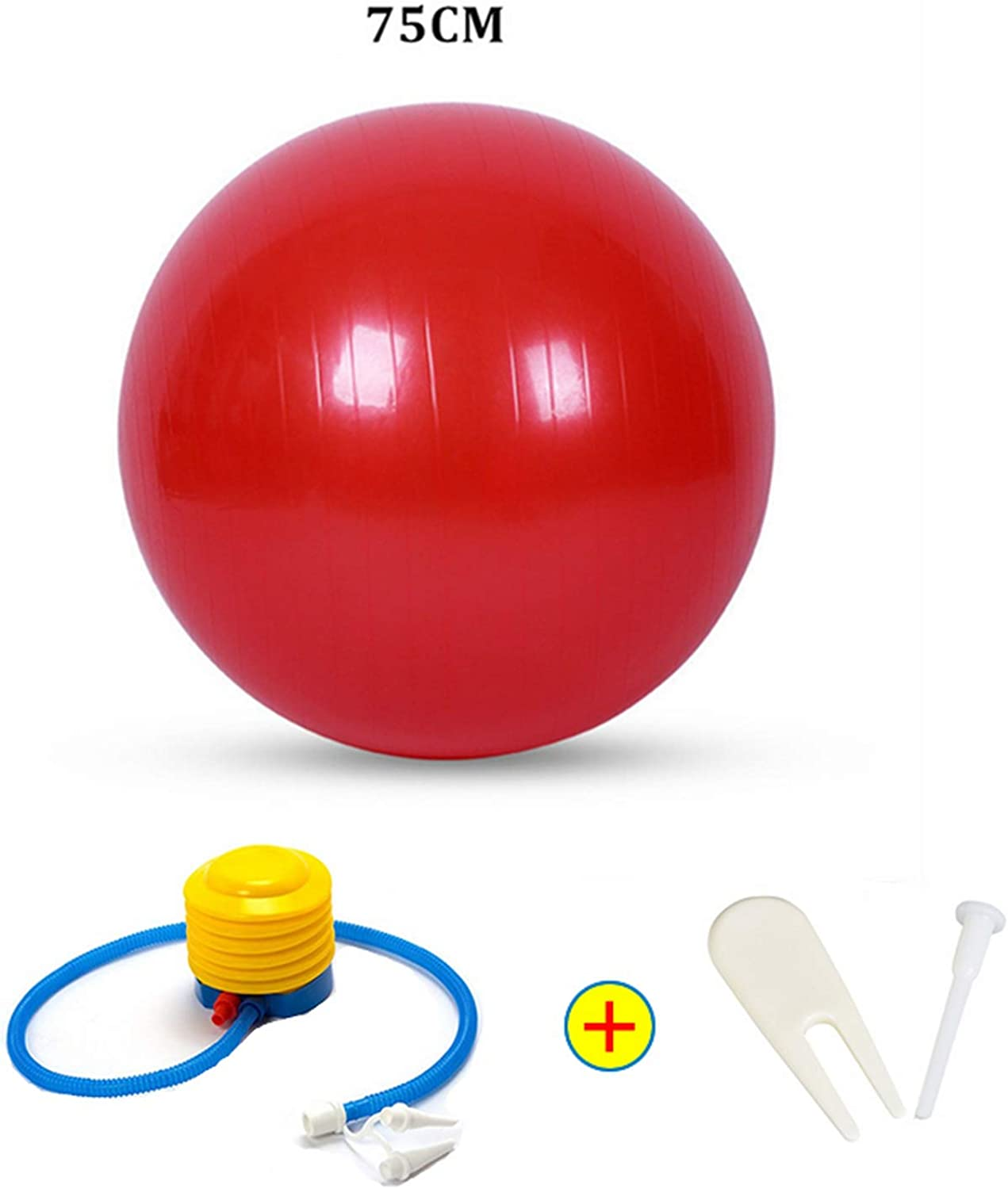 Sports Yoga Balls Bola Pilates Fitness Ball Gym Balance Fitball Exercise Pilates Workout Massage Ball with Pump 55Cm 65Cm 75Cm,75Cm Red