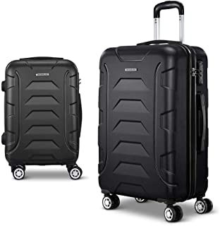Wanderlite 2 Pcs Lightweight Luggage Hard Suitcases and Scale, Black