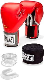 Kit Training - Luva Pro Style + bandagem 2,74 metros + protetor bucal com estojo - Everlast - Vermelho - 14 OZ