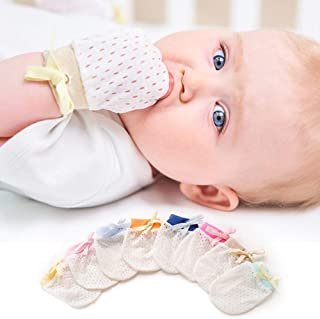Aijian Pack of 16 Baby Mesh Gloves Cotton No Scratch Mittens for Unisex (8Colors/0-12Months)