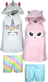 dELiAs Girls 4-Piece Summer Pajama Short Set with Animal Character Hood