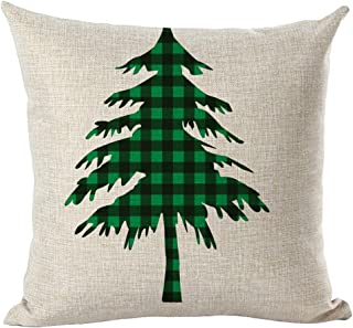 Unionm 84# Pillow Covers Christmas Decor Throw Pillow Case Cotton Blend Snowflake Bell Reindeer Tree Merry Christmas Square 45 x 45 cm 18 x 18 inch Cushion Cover for Home Sofa Car 1 Pack - 5