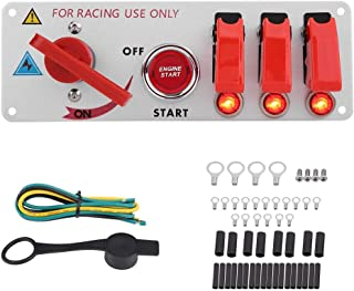 KSTE 12V Racing Car Ignition Switch Panel Engine Start LED Push Button Toggle Panel