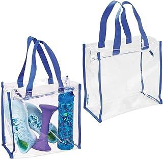 mDesign sac de sport (lot de 2) pour équipement, vêtements, accessoires – besace imperméable en plastique PVC pour salle d...