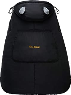 TWONE(トォネ)抱っこひもカバー 抱っこひもケープ べびキャリアカバー 防寒カバー あったか すべての抱っこ紐に対応可 エルゴ 風よけ ウィンターカバー お出かけ用 3wayケープ 収納袋付き 冬 人気 出産お祝い (ブラック)