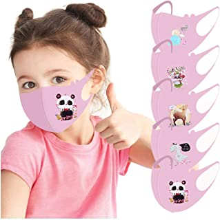 5 Pack Childrens Cartoon Lovely Face Macks Bandanas,Washable Reusable Face Protections Coverings for Kids (Pink)