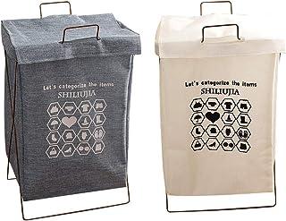 Lot de 2 paniers à linge pliables avec couvercle pliable en toile pour salle de bain, chambre à coucher, buanderie - Panie...