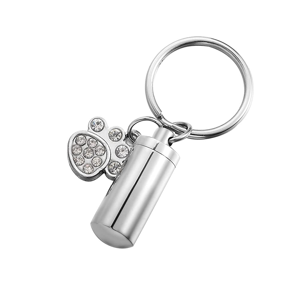 HooAMI Pet Cremation Urn Keychain Keepsake Puppy Dog Paw with Cylinder Charm Stainless Steel Keyring