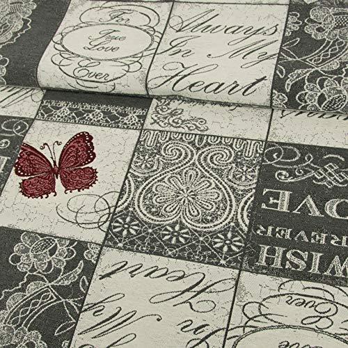 Gobelin Stoff True Love grau Möbelstoffe Liebe Herzen Schmetterling - Preis gilt für 0,5 Meter -
