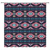 Southwestern Aztec Duschvorhang Indianer bunt Navajo Abstrakt Geometrisch Südwesten Retro Tribal Boho Ethno Zickzack Streifen Stoff Badezimmer Vorhang Set mit Haken 178 cm