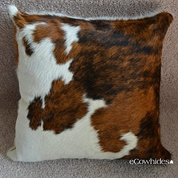 ECowhides Cowhide Pillow Case 15 X 15 Tricolor Genuine Leather Cowskin Throw Pillow Cover Brown Black White 2 Sided Case Only