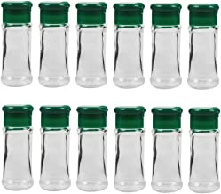 BESTONZON 12PCS Plastic Spice Salt Pepper Shakers Seasoning Jar Can Barbecue Condiment Jar Bottles Cruet Container M Green