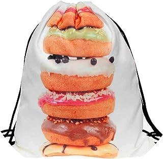 New Women Cute Shoulder Bag 3D Printing Donuts Bags Drawstring Backpack Student Bookbag