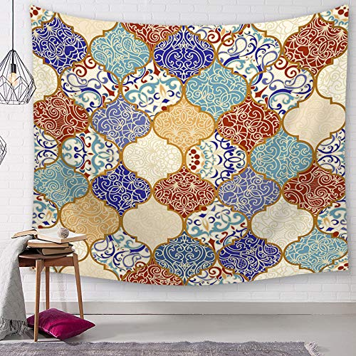 SevenShop Tapiz Mandala Indio Colgante de Pared Caligrafía árabe Bismilla Tapices islámicos Picnic Playa Sábana Mantel Decoración del hogar 150X200Cm (3#)