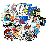 ZJJHX Animación de fantasía Europea y Americana Tintin Adventures Trolley Case Graffiti Sticker Refrigerator Battery Car Car Stickers a Prueba de Agua 25 Hojas