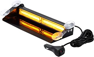 Amber LED Emergency Strobe Dash Lights with Suction Cups, WOWTOU Aluminum 24W Interior Deck Windshield Safety Warning Flashing Light for Vehicles Trucks Security Cars