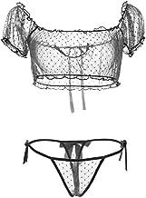 COSPROFE Women's Chiffon Sexy Lingerie 2Pcs Polka Dot Sheer Mesh Underwear Off Shoulder Transparent Bra and Thong Set