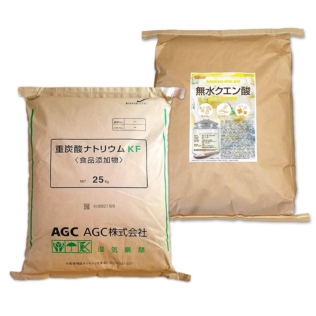 プリーツ草ゴミ箱を空にするAGC製 重曹 25kg + 無水 クエン酸 25kg セット [02] 【同梱不可】NICHIGA(ニチガ)
