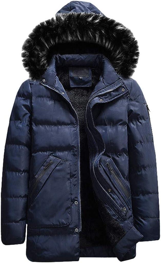 Men's Coat with Fur Hood Warm Winter Zipper Jacket Long Outwear Windproof