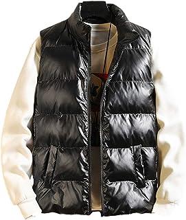 Omoone Men's Casual Shiny Metallic Puffer Padded Hooded Vest Sleeveless Coat